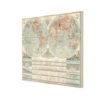 Hohen und Tiefen - Highs and Lows Atlas Map Canvas Print