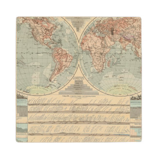 Hohen und Tiefen - Highs and Lows Atlas Map Wood Coaster