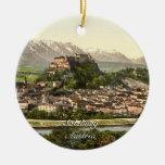 Hohensalzburg Castle, Salzburg, Austria Round Ceramic Decoration