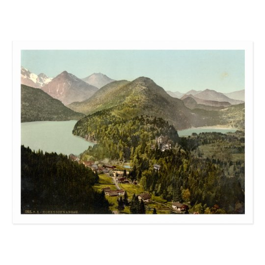 Hohenschwangau Castle and Alps, Bavaria, Germany Postcard