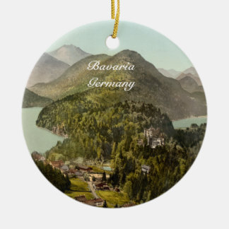 Hohenschwangau Castle and Alps, Bavaria, Germany Round Ceramic Decoration