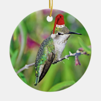 HoHoHo Hummingbird Double-Sided Ceramic Round Christmas Ornament