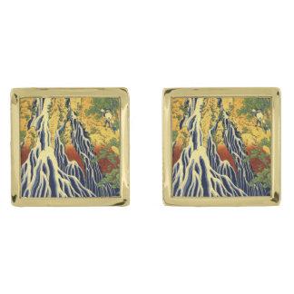 Hokasai Vintage Japanese Fine Art Gold Finish Cuff Links