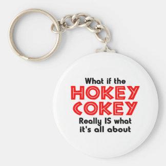 hokey cokey basic round button key ring