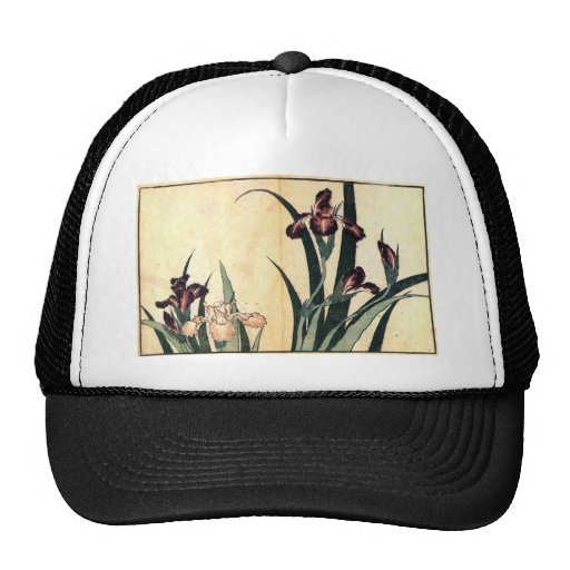 Hokusai Art painting Iris Flowers Hat