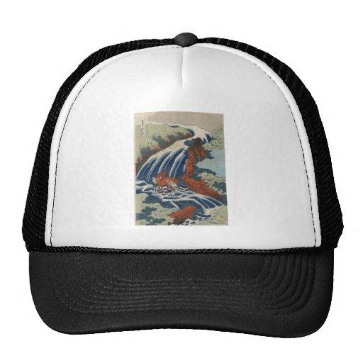 Hokusai Art painting Mountains Mesh Hats