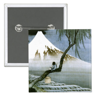 Hokusai Boy and Mt Fuji Vintage Japanese Pinback Button