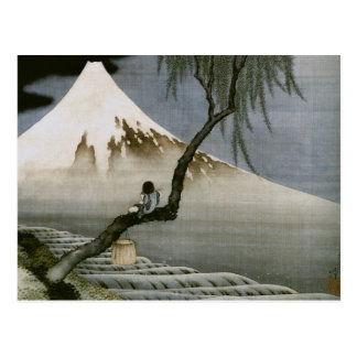Hokusai Boy and Mt Fuji Vintage Japanese Post Cards