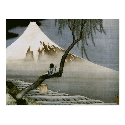 Hokusai Boy and Mt.Fuji Vintage Japanese Post Cards