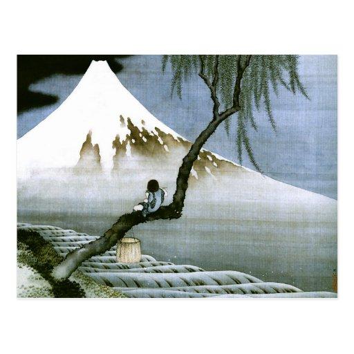 Hokusai Boy and Mt.Fuji Vintage Japanese Postcard