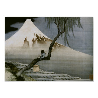 Hokusai Boy and Mt Fuji Vintage Japanese Posters