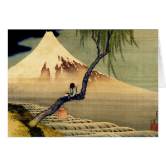 Hokusai Boy Viewing Mount Fuji Japanese Vintage Card