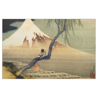 Hokusai Boy Viewing Mount Fuji Japanese Vintage Fabric