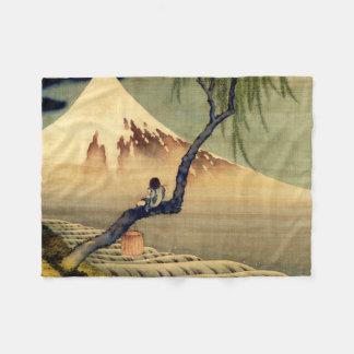 Hokusai Boy Viewing Mount Fuji Japanese Vintage Fleece Blanket