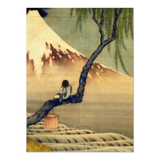 Hokusai Boy Viewing Mount Fuji Japanese Vintage 17 Cm X 22 Cm Invitation Card