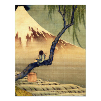 Hokusai Boy Viewing Mount Fuji Japanese Vintage Personalized Announcement Card