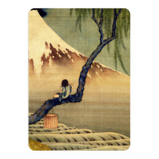 Hokusai Boy Viewing Mount Fuji Japanese Vintage 13 Cm X 18 Cm Invitation Card
