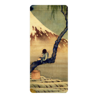 Hokusai Boy Viewing Mount Fuji Japanese Vintage 10 Cm X 24 Cm Invitation Card