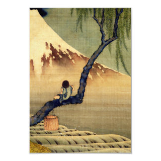Hokusai Boy Viewing Mount Fuji Japanese Vintage 9 Cm X 13 Cm Invitation Card