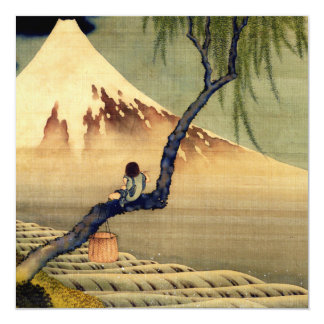 Hokusai Boy Viewing Mount Fuji Japanese Vintage Customized Announcement Card
