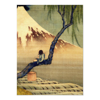 Hokusai Boy Viewing Mount Fuji Japanese Vintage 14 Cm X 19 Cm Invitation Card