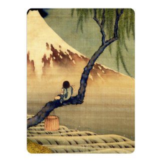 Hokusai Boy Viewing Mount Fuji Japanese Vintage Announcement Cards