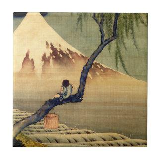Hokusai Boy Viewing Mount Fuji Japanese Vintage Ceramic Tile