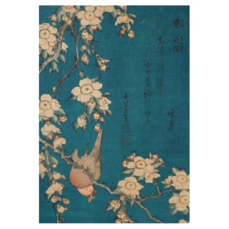 Hokusai Bullfinch and Weeping Cherry GalleryHD Wood Poster