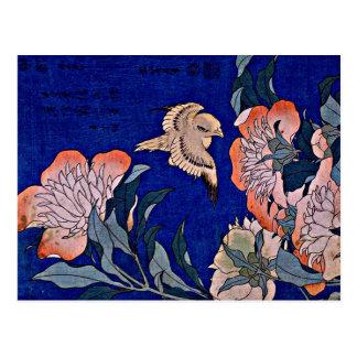 Hokusai: Canary and Peony Postcard