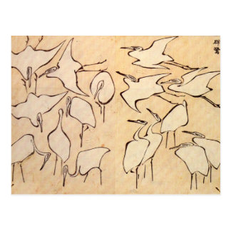 Hokusai Cranes Postcard
