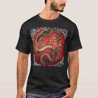 Hokusai Dragon on Black T-Shirt