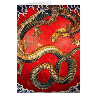 Hokusai Gold Japanese Dragon Card