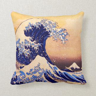 Hokusai great wave cushion