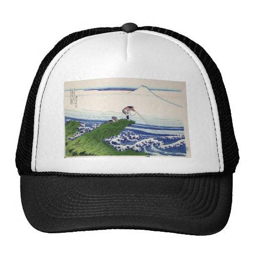 Hokusai great wave print painting trucker hats