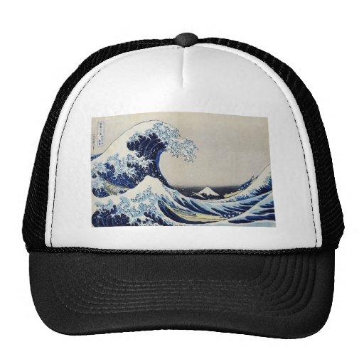 Hokusai great wave print painting hats