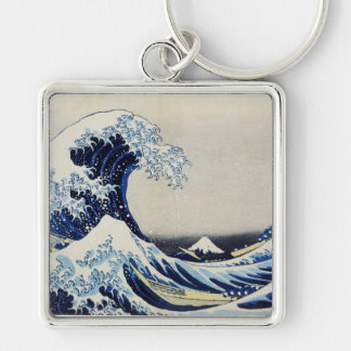 Hokusai great wave print painting key ring