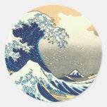 Hokusai great wave round sticker