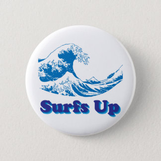 Hokusai Great Wave Surfs Up 6 Cm Round Badge