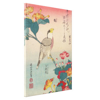 Hokusai Hawfinch and Marvel-of-Peru GalleryHD Art Canvas Print