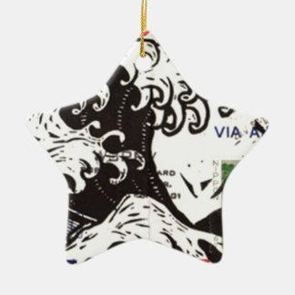 HOKUSAI JAPAN WAVE CERAMIC STAR DECORATION