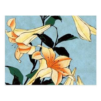 Hokusai Japanese Lilies Postcard