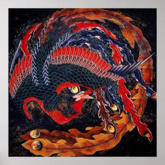 Hokusai Japanese Phoenix Poster