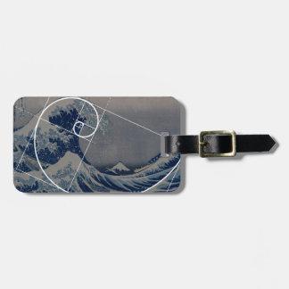 Hokusai Meets Fibonacci, Golden Ratio Bag Tags