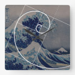Hokusai Meets Fibonacci, Golden Ratio Square Wall Clocks