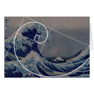 Hokusai Meets Fibonacci, Golden Ratio Greeting Card