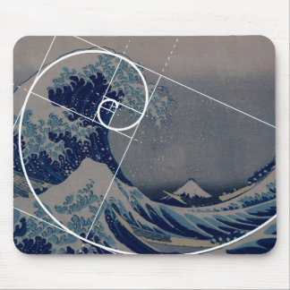 Hokusai Meets Fibonacci, Golden Ratio Mouse Mat