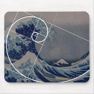 Hokusai Meets Fibonacci, Golden Ratio Mouse Pad