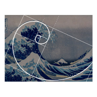 Hokusai Meets Fibonacci, Golden Ratio Postcard