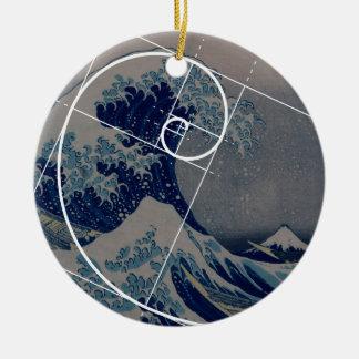 Hokusai Meets Fibonacci, Golden Ratio Round Ceramic Decoration