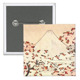 Hokusai Mount Fuji Cherry Blossoms Button
